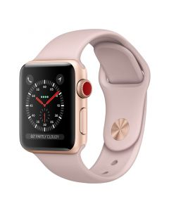 Apple Watch 38mm Series 3 Gold Aluminium Case with Pink Sand Sport Band (GPS + Cellular) Front Side