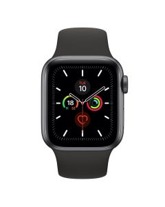 Apple Watch 44mm Series 5 GPS + Cellular Space Grey Aluminum Case w/ Black Sport Band front