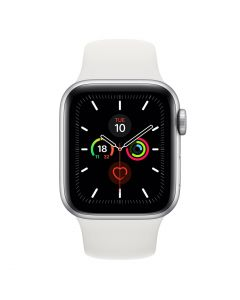 Apple Watch 40mm Series 5 (GPS + Cellular) - Silver Aluminum Case w/ White Sport Band front