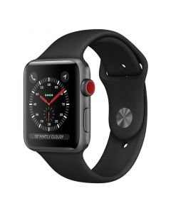 [Open Box - As New] Apple Watch 42mm S3 (Cellular) - Space Grey Al Case w/ Black Sport Band front