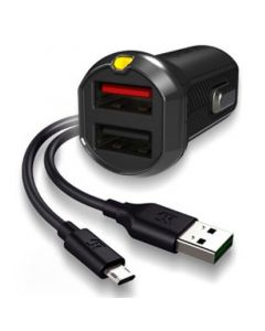 EFM 17W Dual Car Charger with Micro USB Cable - Black - main