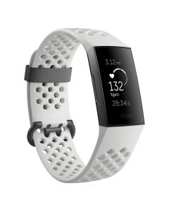 Fitbit Charge 3 Special Edition Fitness Tracker Frost White Sport/Graphite Aluminium front